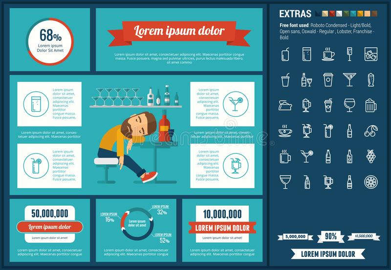 Drink flat design Infographic Template. Drink infographic template and elements. The template includes illustrations of hipster men and huge awesome set of thin royalty free illustration
