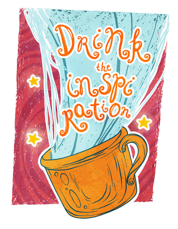 Drink the inspiration! stock images