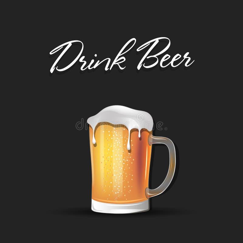 Drink?l ?l r?nar med skummar stock illustrationer