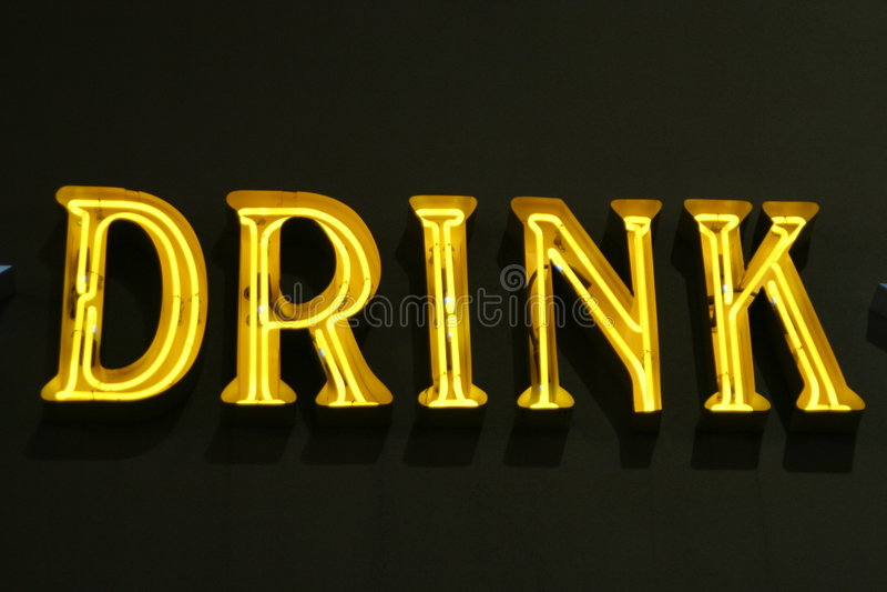 drink lights neon sign στοκ φωτογραφία