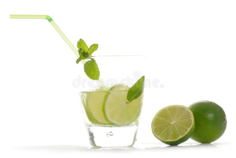 Drink with lime royalty free stock image