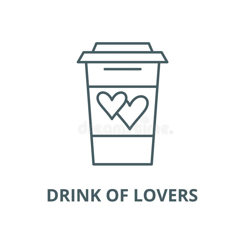 Drink of lovers vector line icon, linear concept, outline sign, symbol royalty free illustration