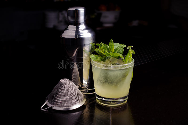 Drink making tools for mojito cocktail lime and mint. stock photo