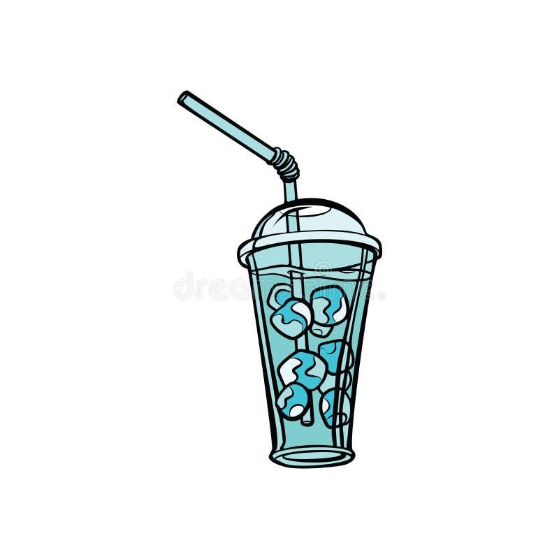 Drink med is vektor illustrationer