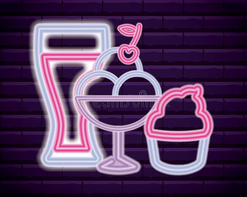 Drink med glass- och muffinneonljus royaltyfri illustrationer