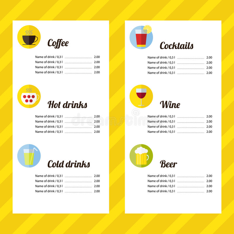 Drink menu template stock vector. Illustration of restaurant