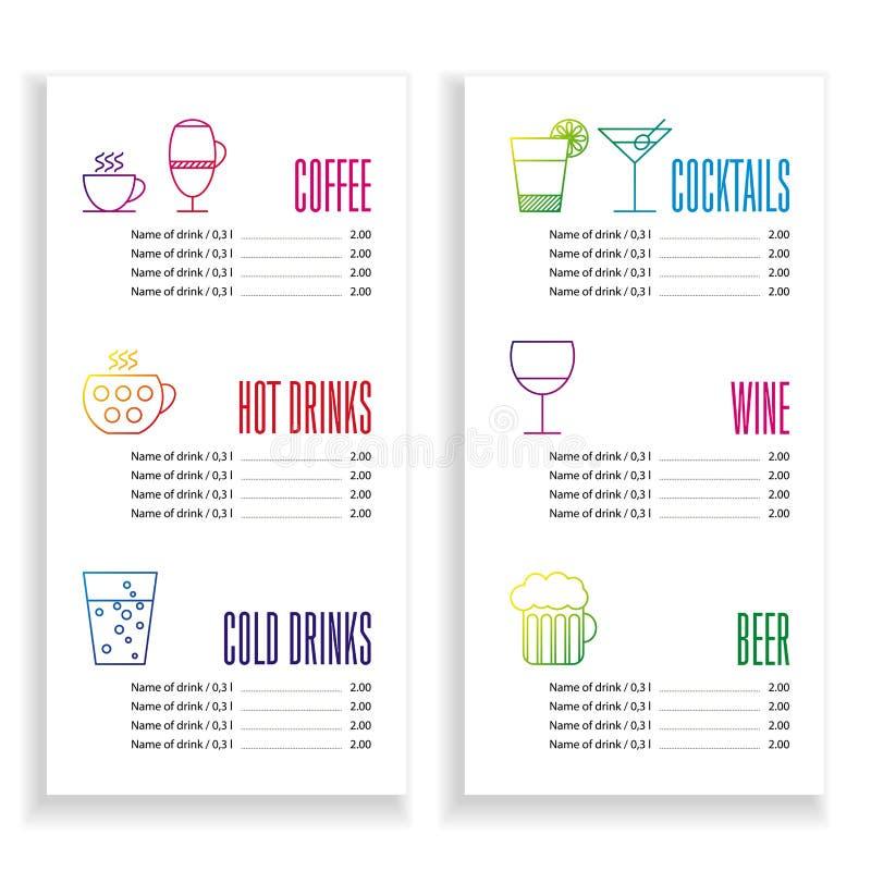 Drink menu template stock vector. Illustration of drink - 57564757
