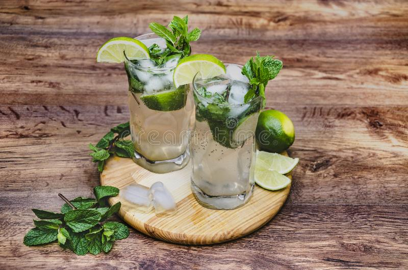 Drink with mint and lime stock photo