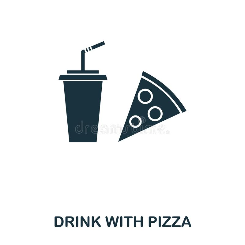 Drink With Pizza icon. Mobile apps, printing and more usage. Simple element sing. Monochrome Drink With Pizza icon. Illustration vector illustration