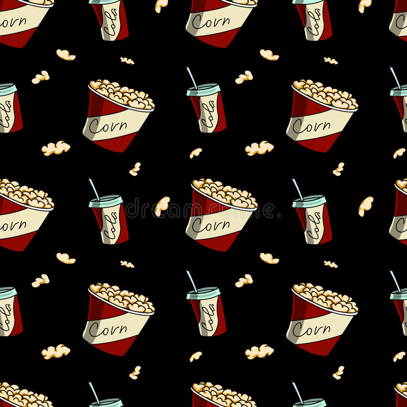 Drink and popcorn. Seamless pattern. stock images
