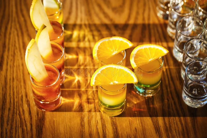 Drink shots with fruits royalty free stock photography