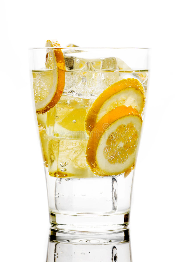 Drink with soda and lemons royalty free stock photography
