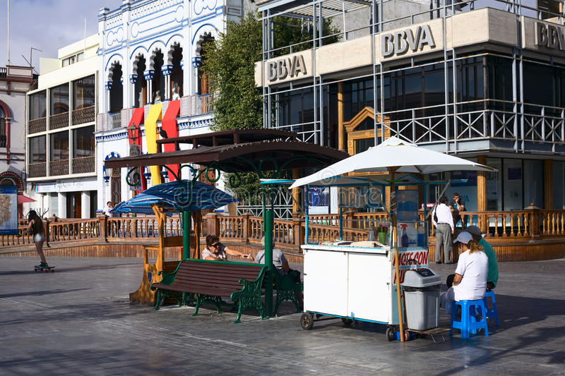 Drink Stand on Plaza Prat Main Square in Iquique, Chile royalty free stock images