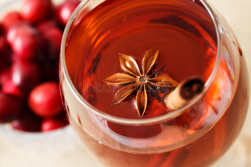 Drink with Star Anise and a Cinnamon Stick royalty free stock photography