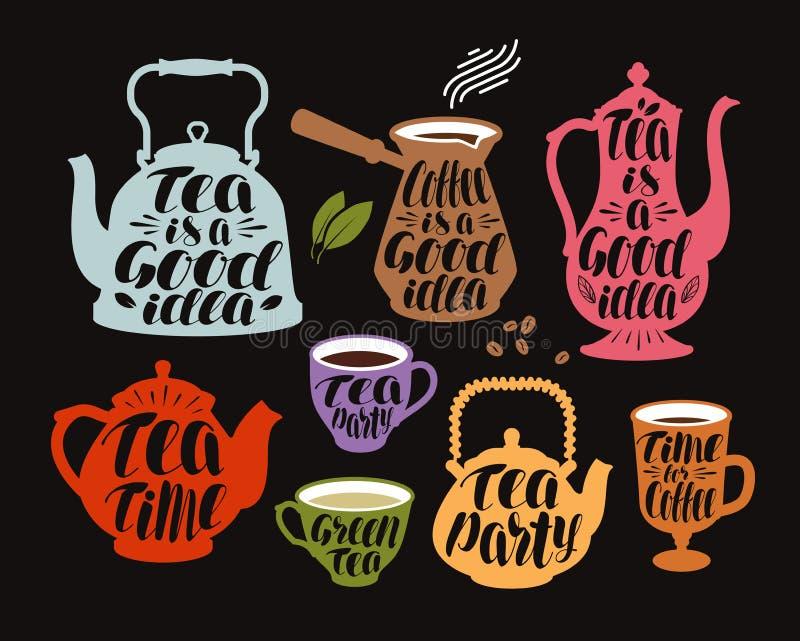 Drink te, kaffeetikettuppsättning Dekorativa beståndsdelar för samling för menyrestaurang eller kafé Bokstäver kalligrafivektor vektor illustrationer