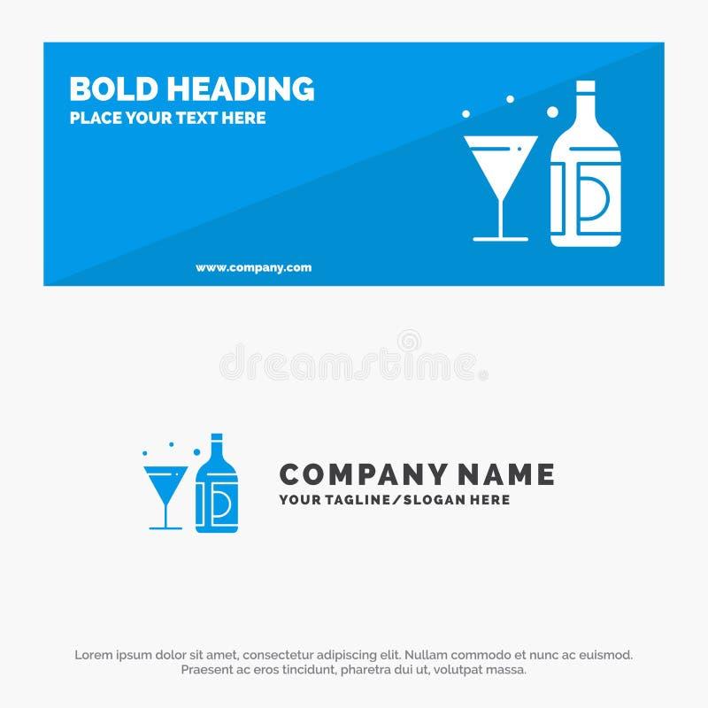 Drink, vin, amerikan, flaska, för symbolsWebsite för exponeringsglas fast baner och affär Logo Template royaltyfri illustrationer