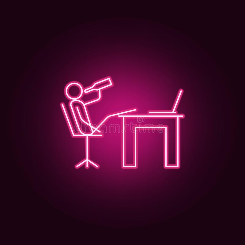 Drink at work outline icon. Elements of Lazy in neon style icons. Simple icon for websites, web design, mobile app, info graphics. On dark gradient background stock illustration
