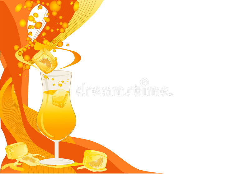 drinka karciane lodu pomarańcze royalty ilustracja