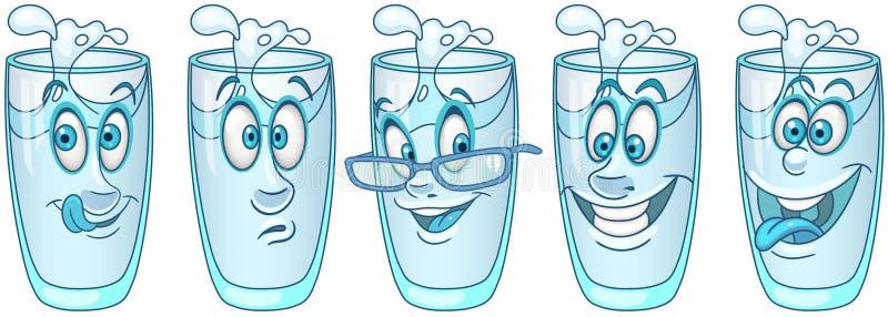 drinka w falls ciekłej wody przepływu szklana Napoju napoju pojęcie royalty ilustracja