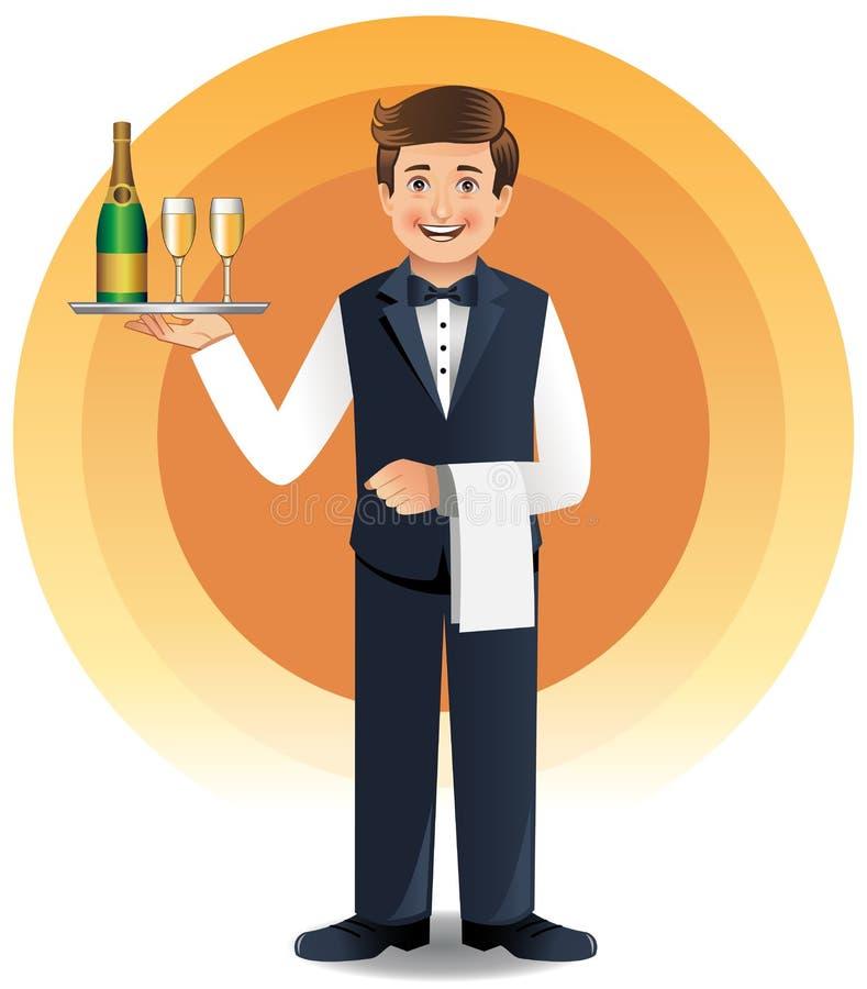drinkar som tjänar som uppassarebarn royaltyfri illustrationer