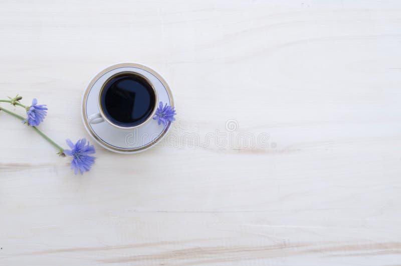 Drinkcikoria i en vit kopp och blåa blommor av växtcikorien på en vit träbakgrund royaltyfria foton