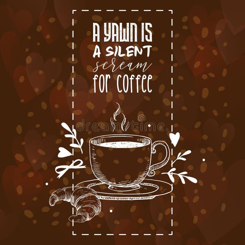 Drinken för coffeecup för kaffemodellvektorn och varm espresso eller cappuccino för giffelaffisch i coffeeshopbakgrund rånar med vektor illustrationer