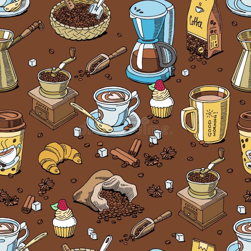 Drinken naadloze coffeebeans van het koffiepatroon en coffeecup hete espresso of cappuccino in coffeeshop en mok met cafeïne vector illustratie