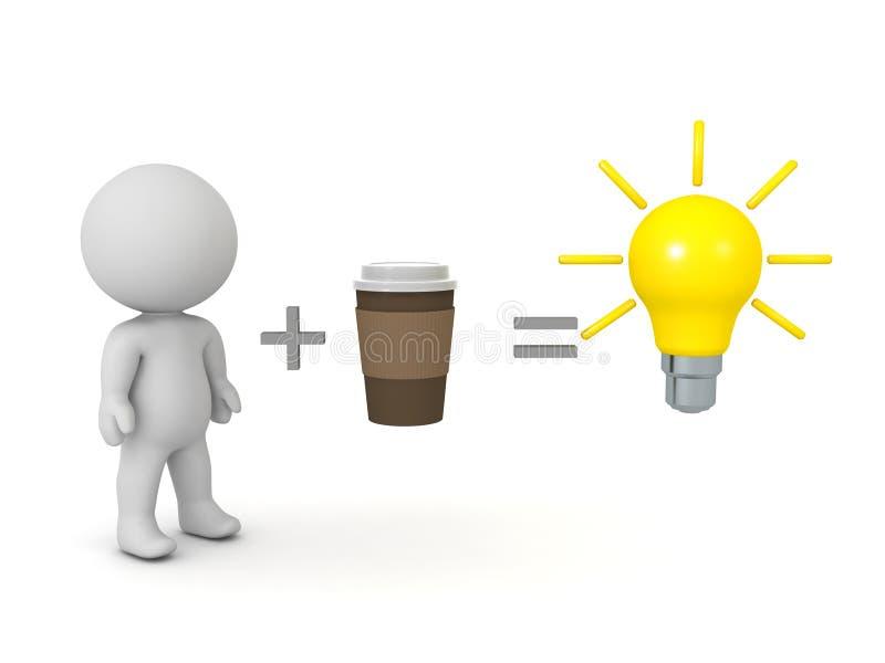 Drinken van koffie versterkt de creatieve beeldvorming royalty-vrije illustratie