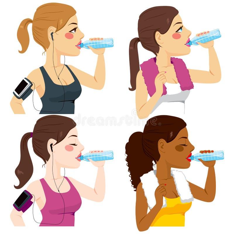 Drinkende Sportvrouwen stock illustratie