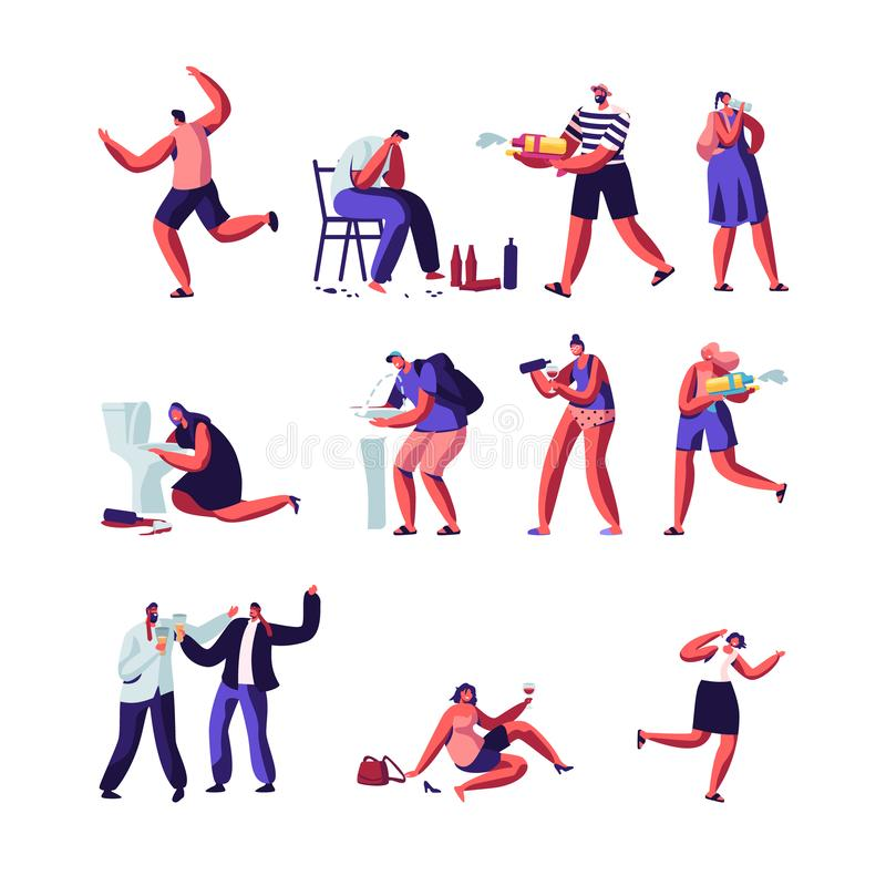 Drinkers and People Playing with Water Guns Set. Characters with Alcohol Addiction, Drunk Men and Women Lying on Ground, Puking vector illustration