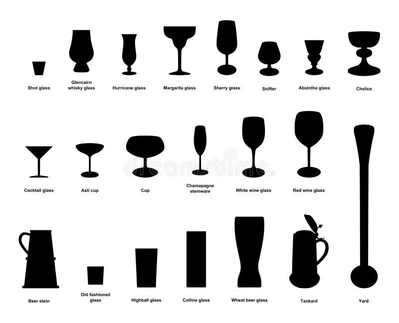 Drinkexponeringsglas royaltyfri illustrationer