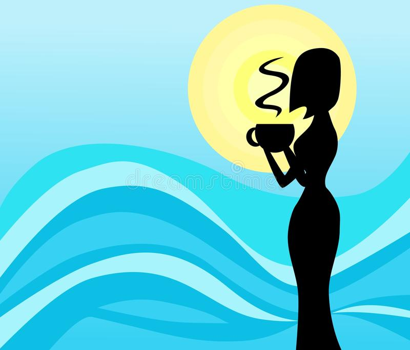 Drinkig woman silhouette on blue background stock images