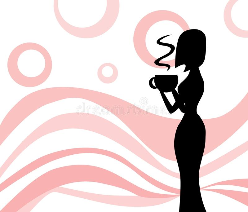 Drinkig woman silhouette in pink background royalty free stock photography