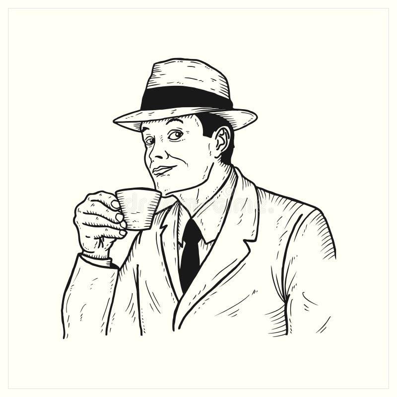 Drinkin d'annata dell'uomo un la tazza di caffè illustrazione di stock