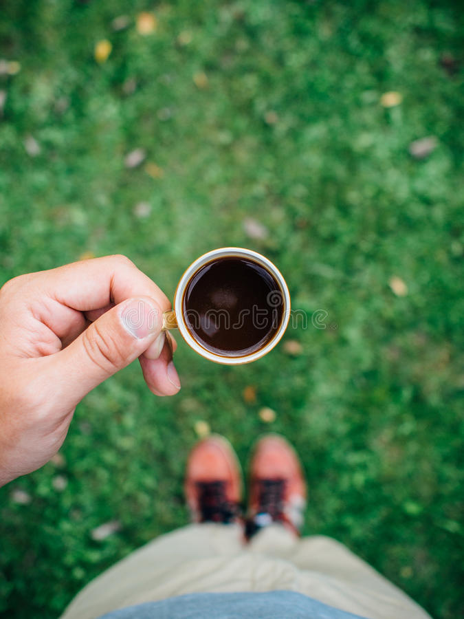 Drinking black coffee royalty free stock images