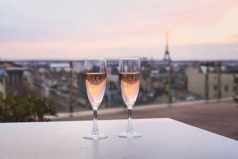 Luxury restaurant in Paris, France. Drinking champagne in luxurious restaurant in Paris, France royalty free stock image