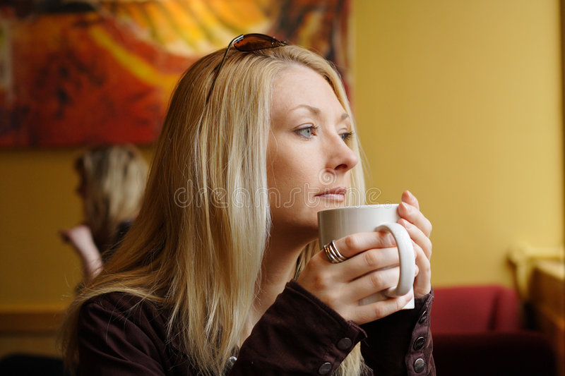 Download Drinking coffee stock photo. Image of eyes, chill, lady - 1850356