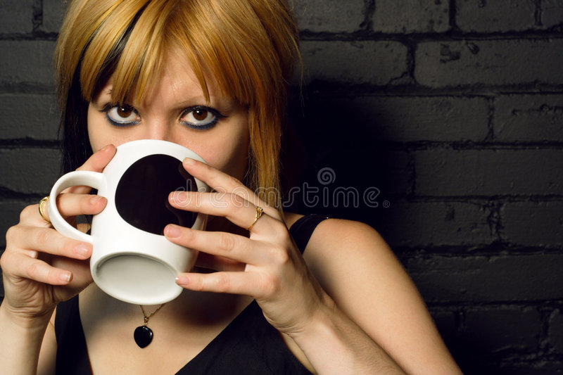 Drinking coffee royalty free stock images