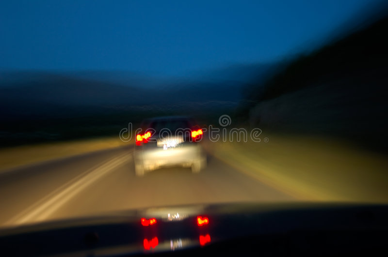 Drinking and driving. Image shows how the road ahead looks to a driver under the influence of subtsances