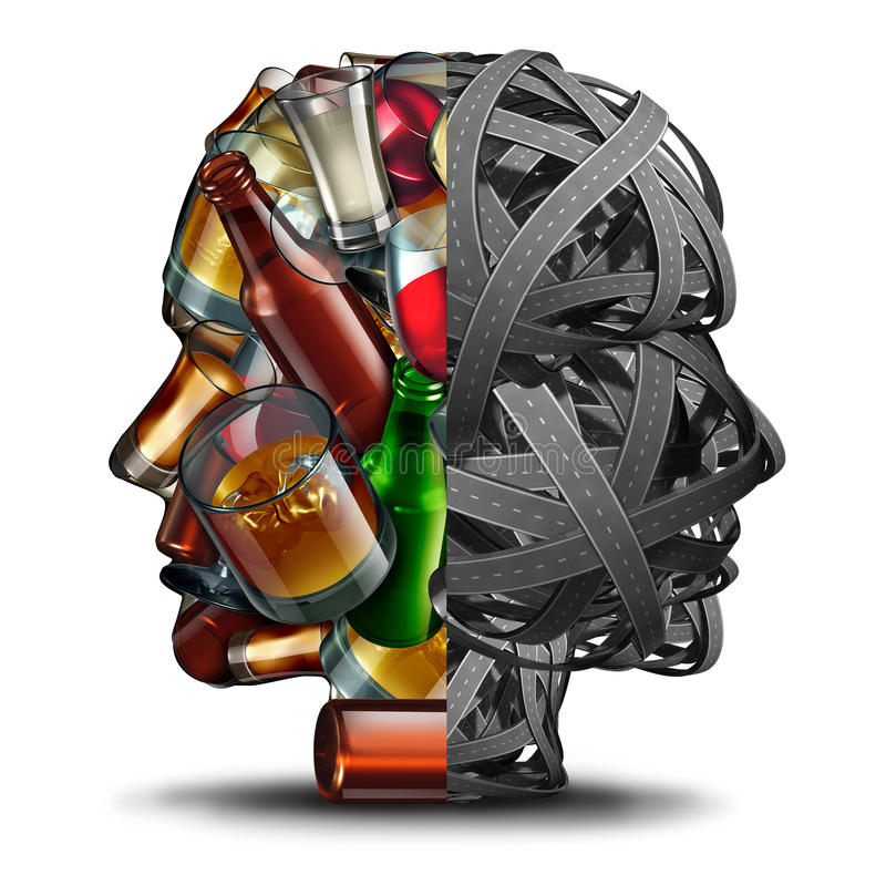 Drinking And Driving. And drunk driver concept under the influence of alcohol as a group of roads and alcoholic drinks in a head shape as a transportation royalty free illustration