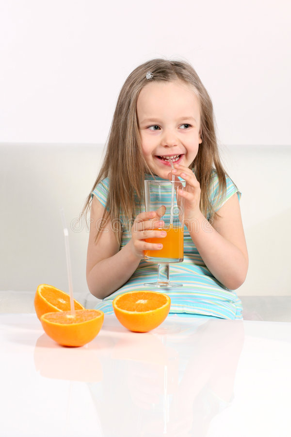 Drinking fresh juice stock image