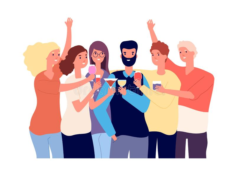 Drinking friends. Group of funny guys clink glasses with alcohol drinks and make toast. Christmas celebration vector stock illustration