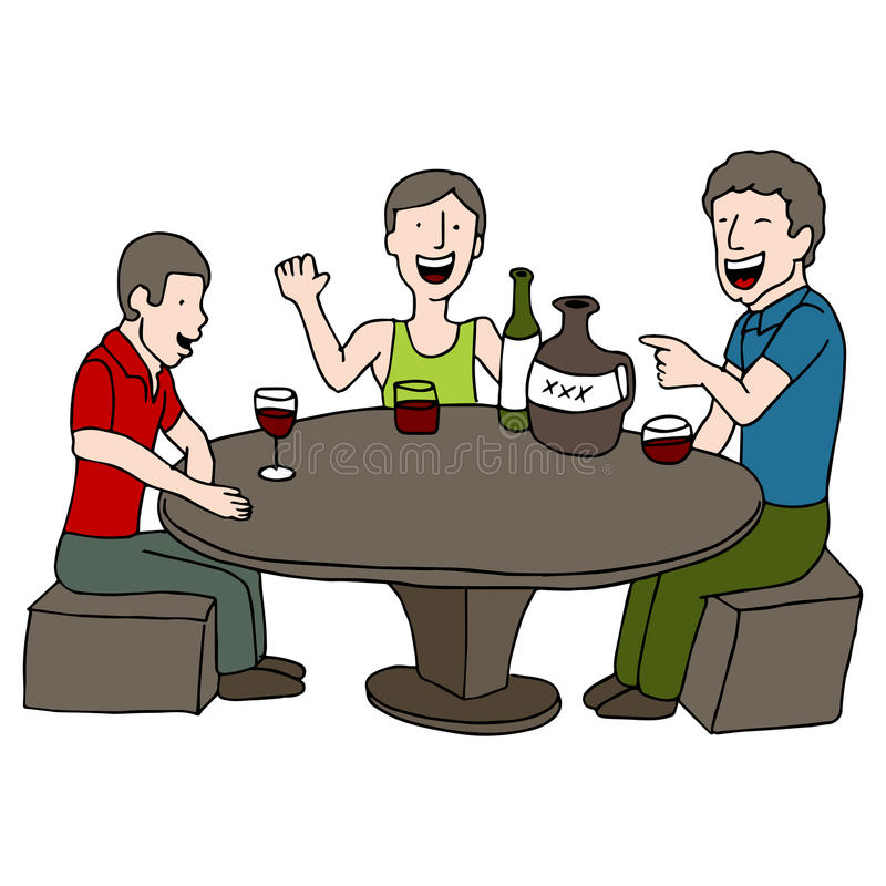 Drinking Game. An image of men playing a drinking game stock illustration