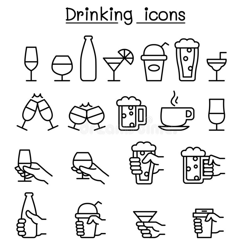 Free Drinking, Glass In The Hand Icon Set In Thin Line Style Royalty Free Stock Photography - 130653137