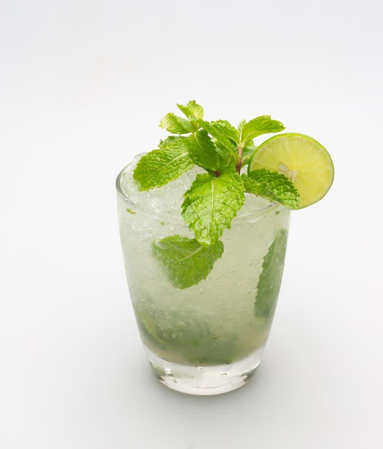 Drinking lemon juice, soda, mint helps quench thirst. And refreshing. Drinking lemon juice, soda, mint helps quench thirst stock image