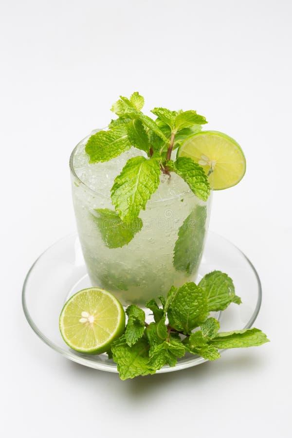 Drinking lemon juice, soda, mint helps quench thirst. And refreshing. Drinking lemon juice, soda, mint helps quench thirst royalty free stock photo