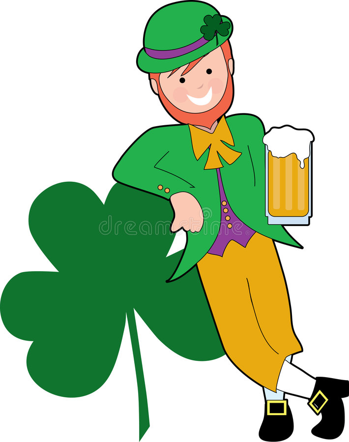 Drinking Leprechaun. Leprechaun leaning on a shamrock with a beer royalty free illustration