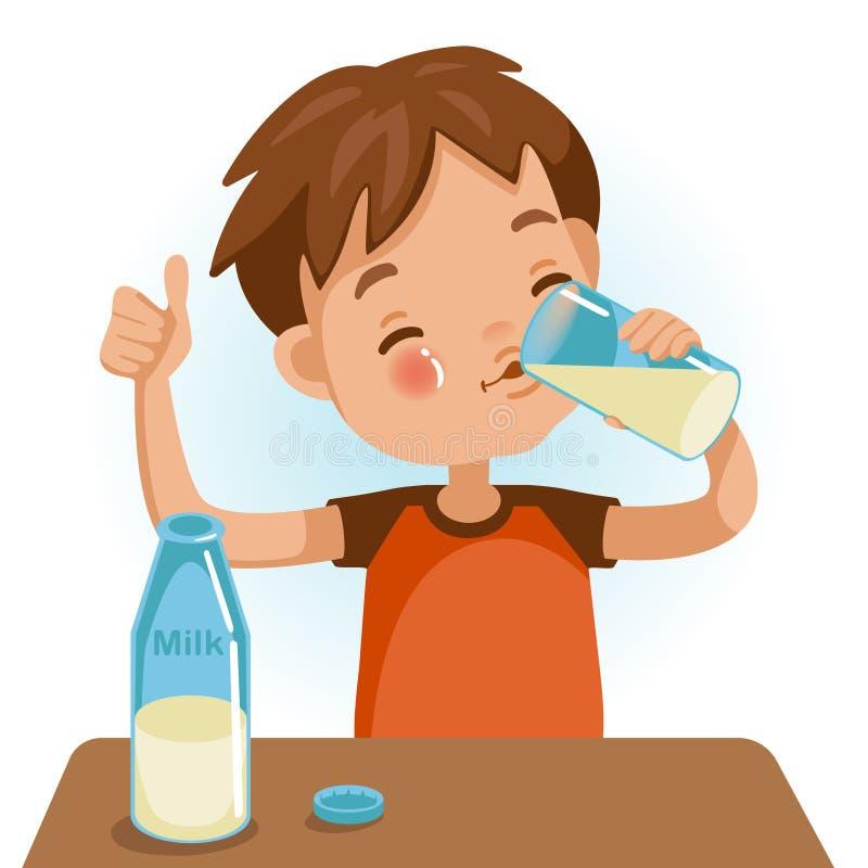 Drinking milk royalty free illustration