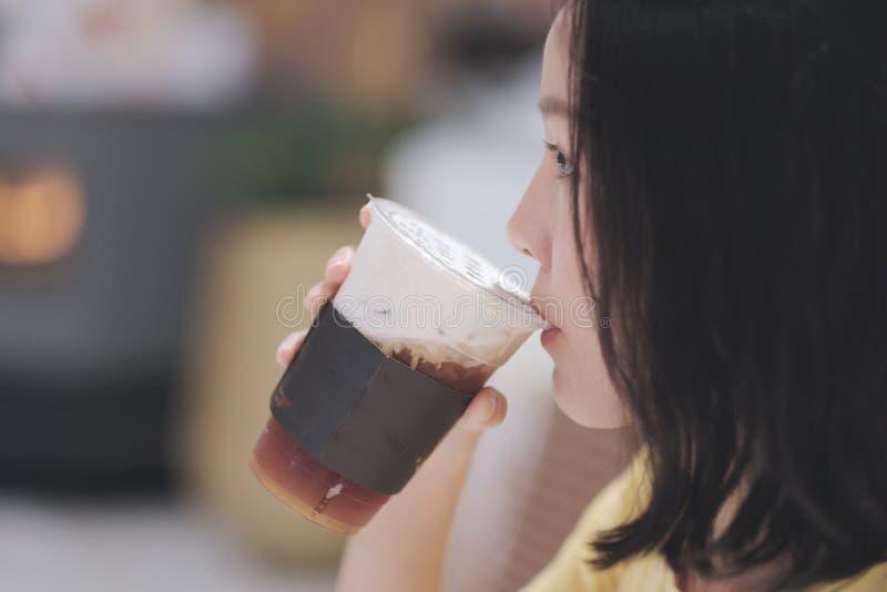 Drinking milk tea stock images