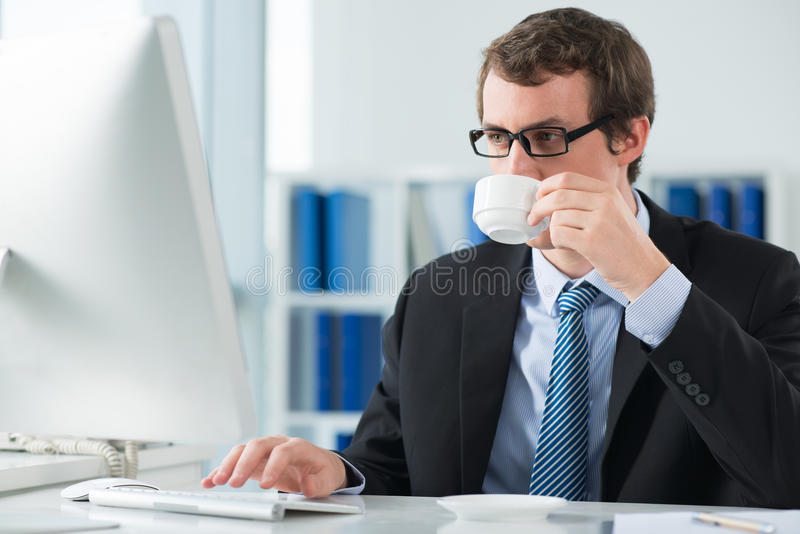 Drinking morning coffee royalty free stock images